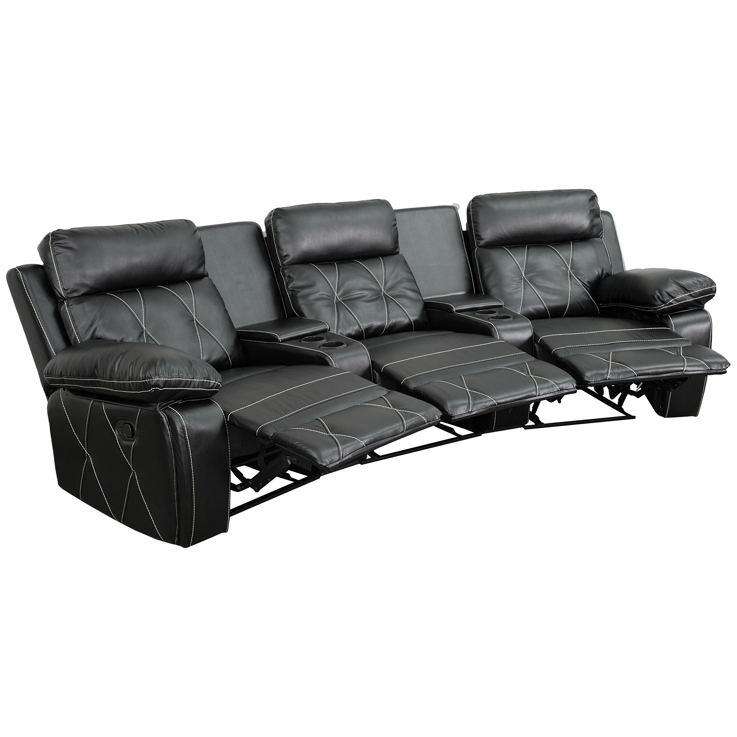 Flash Furniture Reel Comfort Series 3-Seat Reclining Black Leather Theater Seating Unit with Curved Cup Holders by Flash Furniture