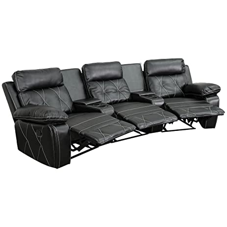 Flash Furniture Reel Comfort Series 3-Seat Reclining Black Leather Theater Seating Unit with Curved  sc 1 st  Amazon.com & Amazon.com: Flash Furniture Reel Comfort Series 3-Seat Reclining ... islam-shia.org