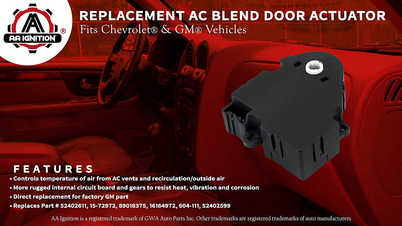 Fits Chevy Tahoe AC Rear Blend Door 15-72972 89018375 16164972 Buick Lesabre Replaces# 52402611 GMC Yukon 604-111 Temperature Defrost Actuator Escalade Renewed Trailblazer Suburban