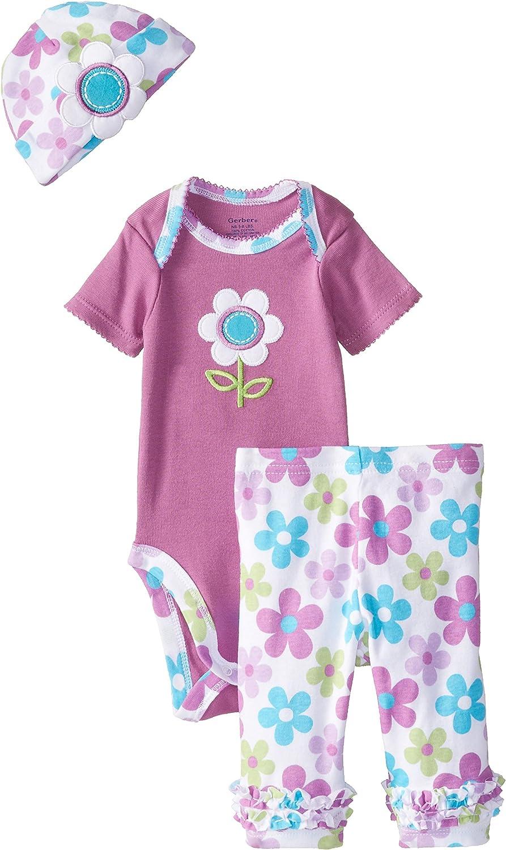 Gerber Baby-Girls Newborn 3 Piece Girl Sets Floral Bodysuit Cap and Leggings
