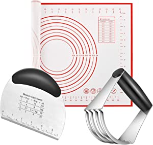 Pastry Cutter, Dough Scraper, Silicone Baking Mats - Stainless Steel Dough Cutters Pastry Blender Set in Gift Package (3 Pcs/Set), Professional Baking Dough Tools & Pastry Utensils for Home Kitchen