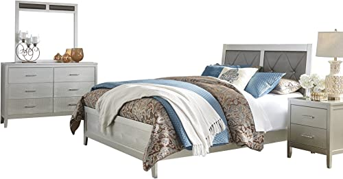 Olivet 4 PC Bedroom Set Queen Panel Bed 1 Nightstand Dresser Mirror – Ashley in Silver