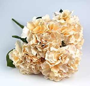 Raylinedo Artificial Champagne Hydrangea Silk Flower 5 Big Heads Bouquet Home Decoration