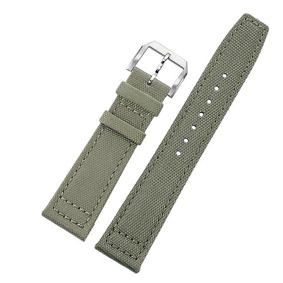 e624b43e194 20mm cinturini luce verde grigio balistico nylon Perlon aviatore NATO stile  subacqueo 2 pezzi per gli uomini con fodera in pelle morbida  Amazon.it   Orologi