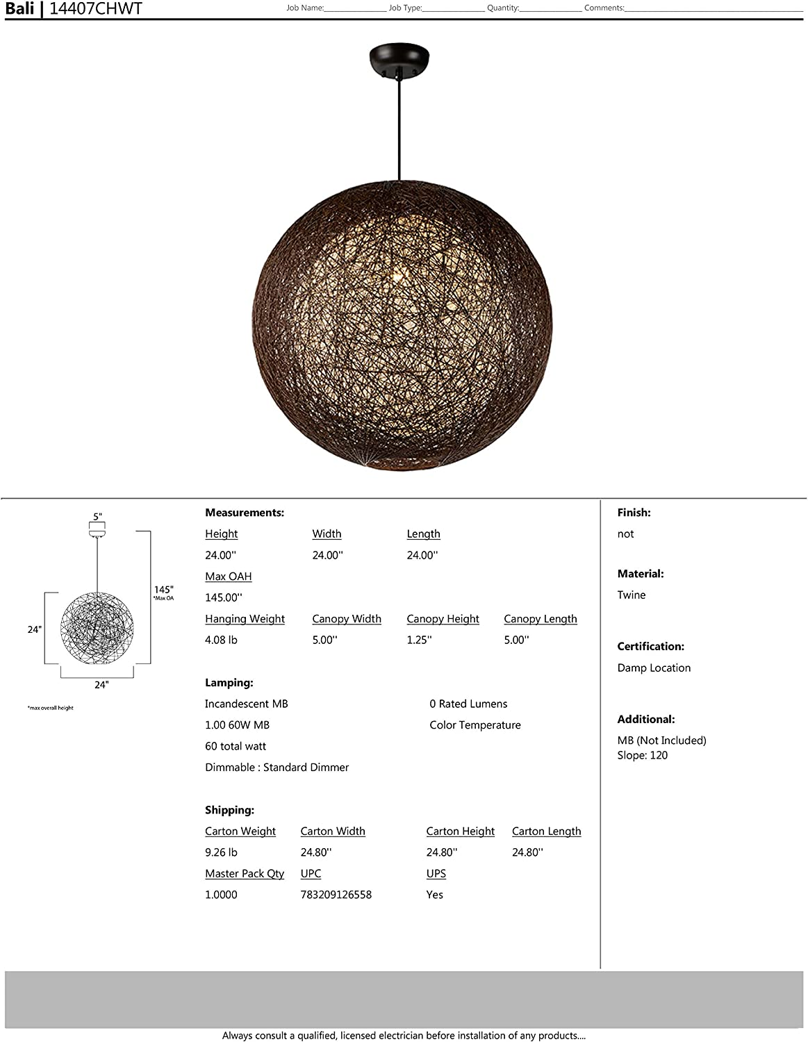 Rated Lumens Dry Safety Rating Standard Dimmable Steel Mesh Shade Material MB Incandescent Incandescent Bulb 60W Max. Finish Glass Maxim 14407CHWT Bali 1-Light Chandelier