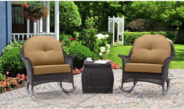 Hanover San Marino 3 Piece Rocking Chat Set, Country Cork Outdoor Furniture