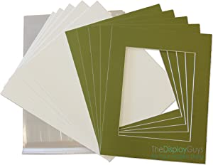 The Display Guys 11x14 Pack of 25 Secret Garden Green Picture Photo Matting Mat Boards + Backing Boards + Clear Plastic Bags Complete Set
