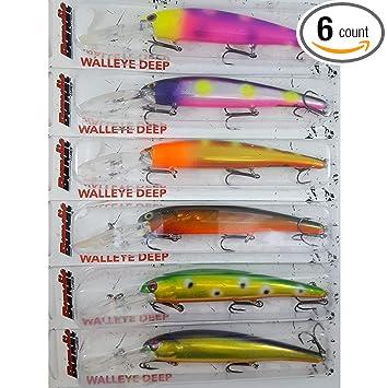 Amazon com : Bandit Walleye Deep Bait, Custom Painted 6 Pack