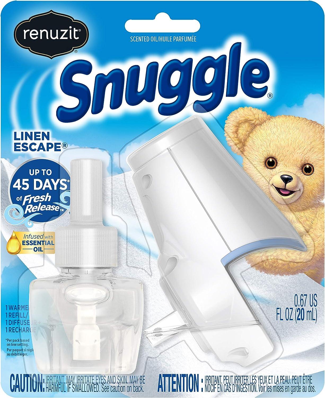 Renuzit Snuggle Scented Oil Refill Air Freshener & Plugin Warmer, Linen Escape Starter Kit