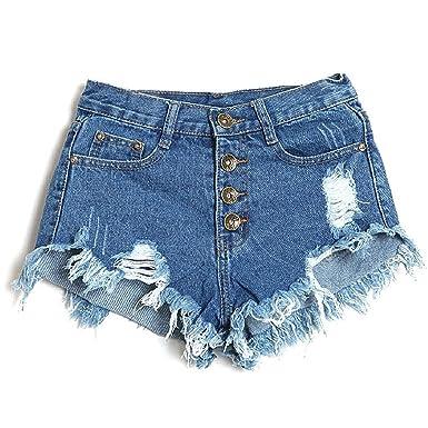 Minetom Sexy Damen Denim Jeans Shorts Hot Pants Low Waist Side Straps  Lochjeans Kurzschlüsse ( Dunkelblau e424e5086e