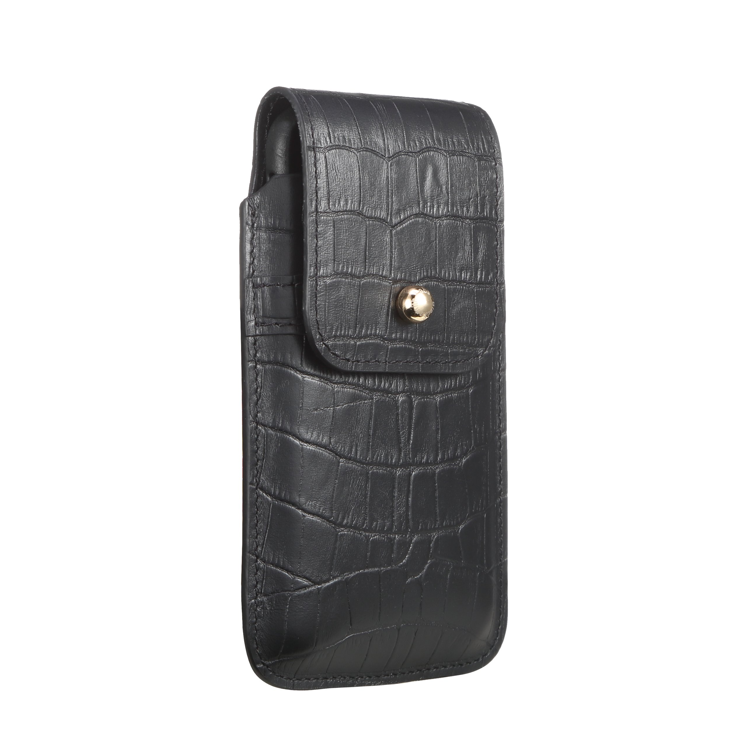Blacksmith-Labs Barrett 2017 Premium Genuine Leather Swivel Belt Clip Holster for Apple iPhone X for use with no cases or covers - Black Croc Embossed Cowhide/Gold Belt Clip