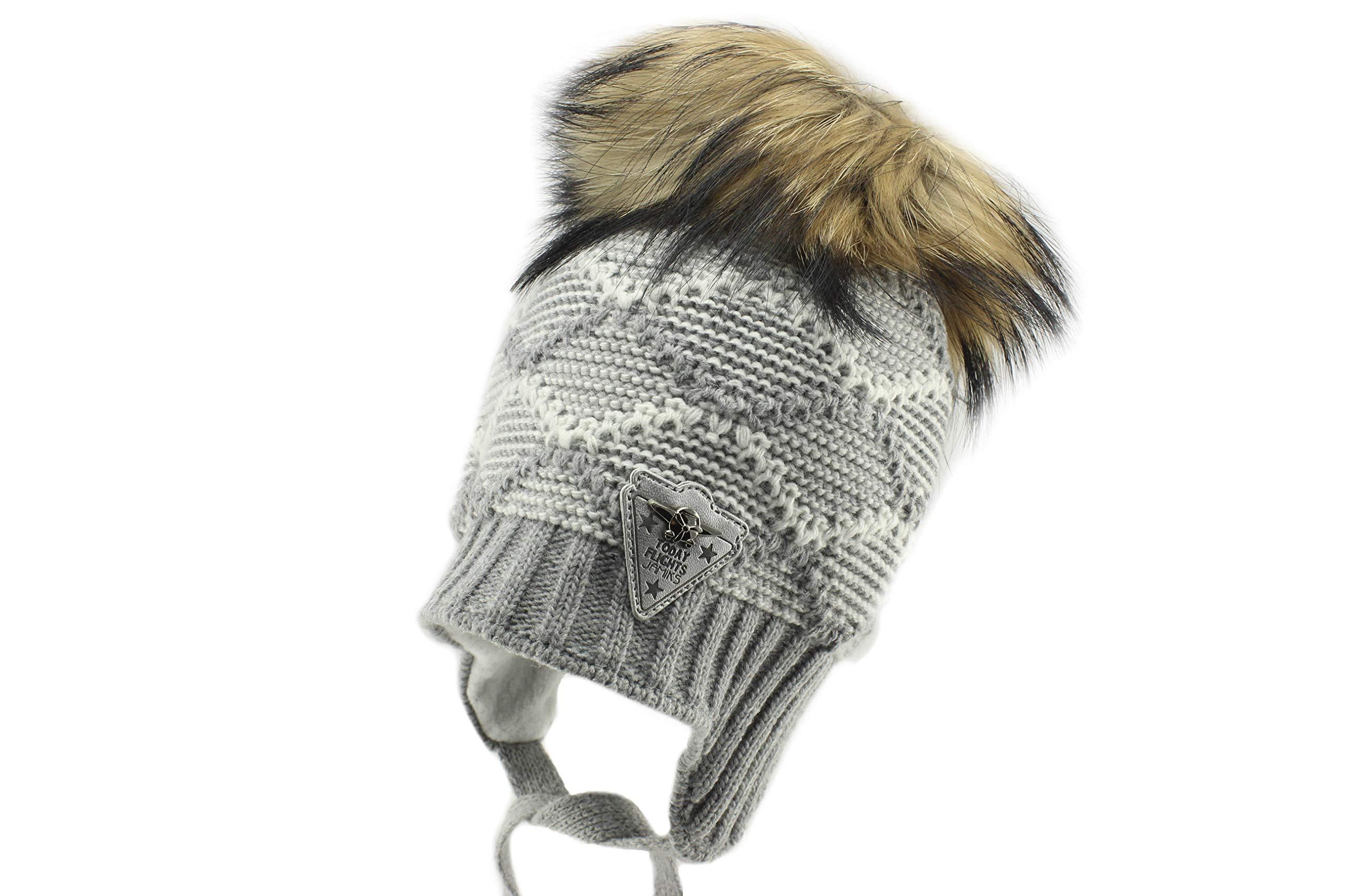 Jamiks Trevor I Boys Ear Flap Warm Winter Pom Pom Beanie Hat