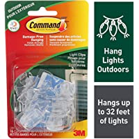 Command Outdoor Light Clips, Clear, 16 Clips 20 All Weather Strips