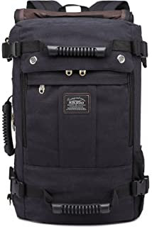 48535bdca04c Kaukko Canvas Leather Backpack Big Schoolbag Traveling Hiking Rucksack  (Black-1)