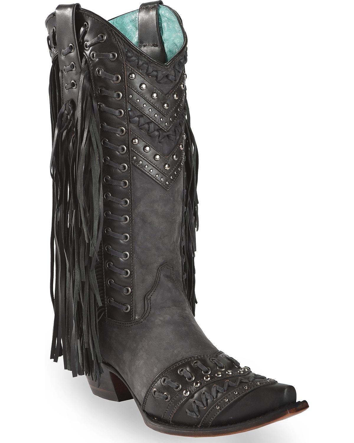 CORRAL Women's Studded Snip Side Fringe Cowgirl Boot Snip Studded Toe - C3006 B01K7K2OJM 11 B(M) US|Black 857afd