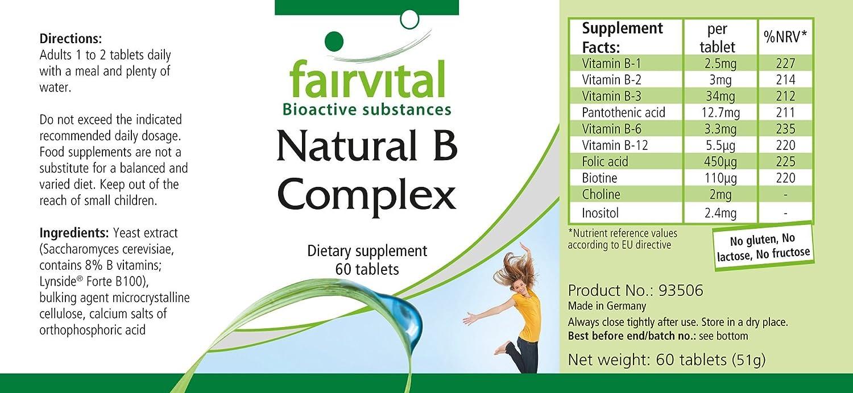 Natural B-Complex de una fuente natural (levadura) - durante 2 meses - VEGANO - 60 comprimidos - con colina e inositol: Amazon.es: Salud y cuidado personal