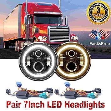 7 inch Round LED faro con señal de ámbar DRL Trun Halo luces para ...