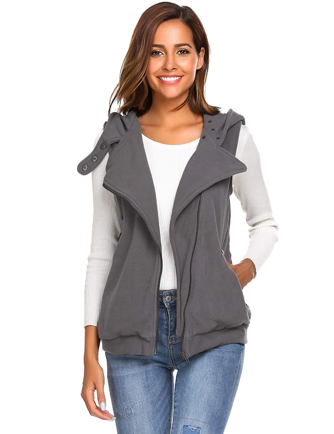 Meaneor Women's Casual Sleeveless Fleece Oblique Zipper Hoodie Vest with Pockets **MAH005375