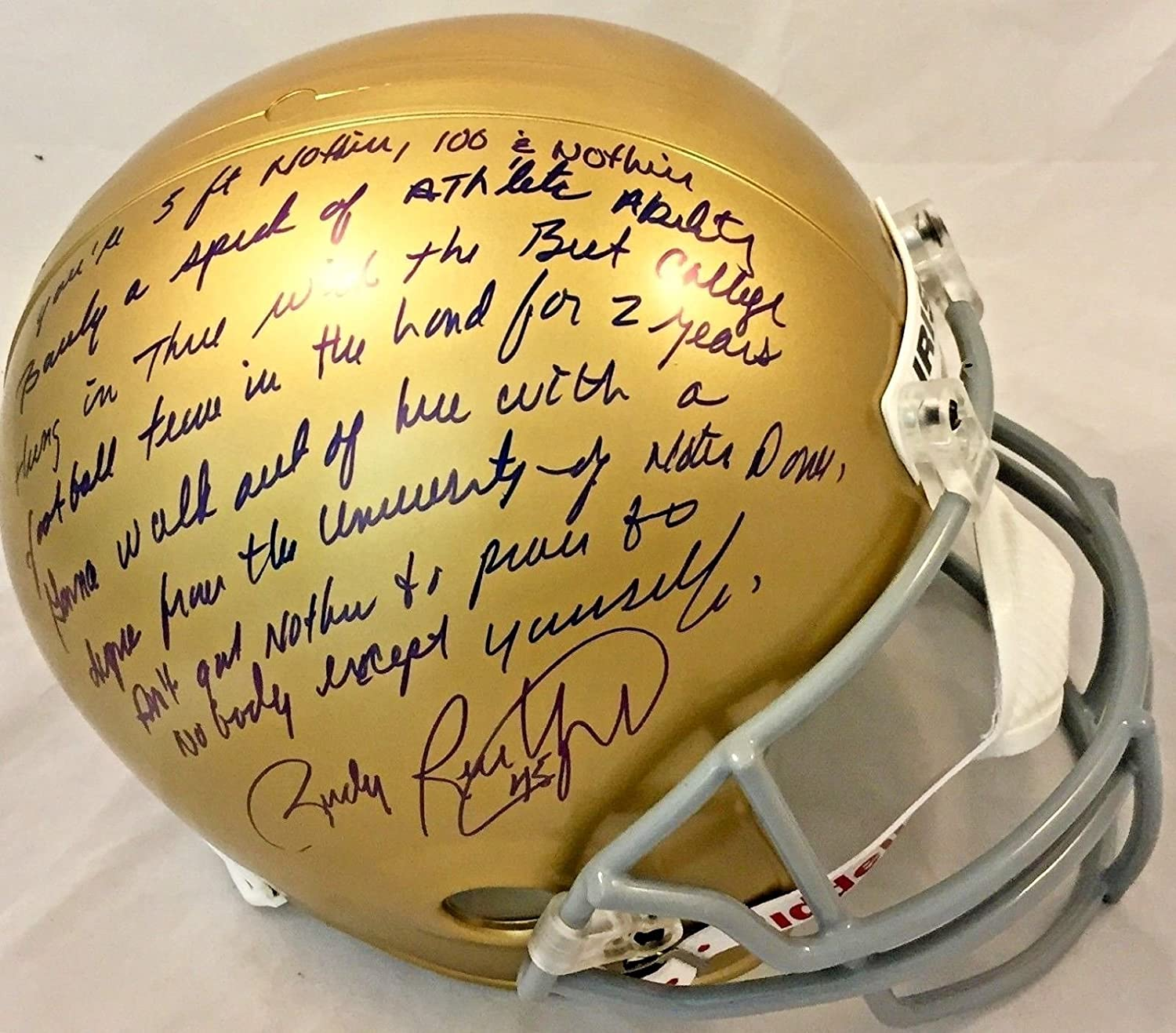 1f1fac78e6f Amazon.com  Rudy Ruettiger Signed Autographed Story Full Size Helmet JSA Notre  Dame Speech  Sports Collectibles