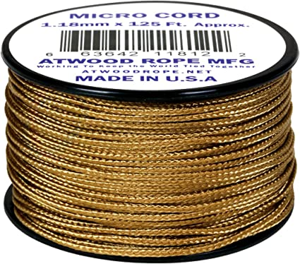 Tan MS10 1.18mm x 125 Micro Cord Paracord Made in the USA
