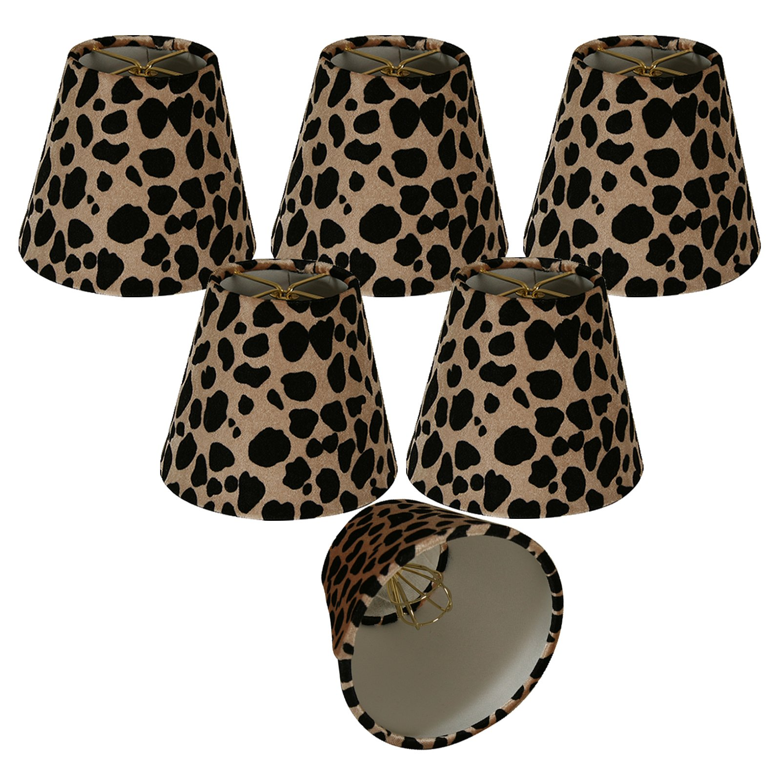 Royal Designs 5'' Black & Brown Large Leopard Print Chandelier Lamp Shade, Set of 6, 3 x 5 x 4.5 (CS-960-5-6)