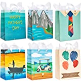 Father's Day Gift Bags with Handles and Tissue Paper, 6 Designs (32 Pieces)