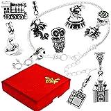 Wizard Witch Magic Argent Bracelet à breloques avec boîte cadeau pour femmes filles Bijoux