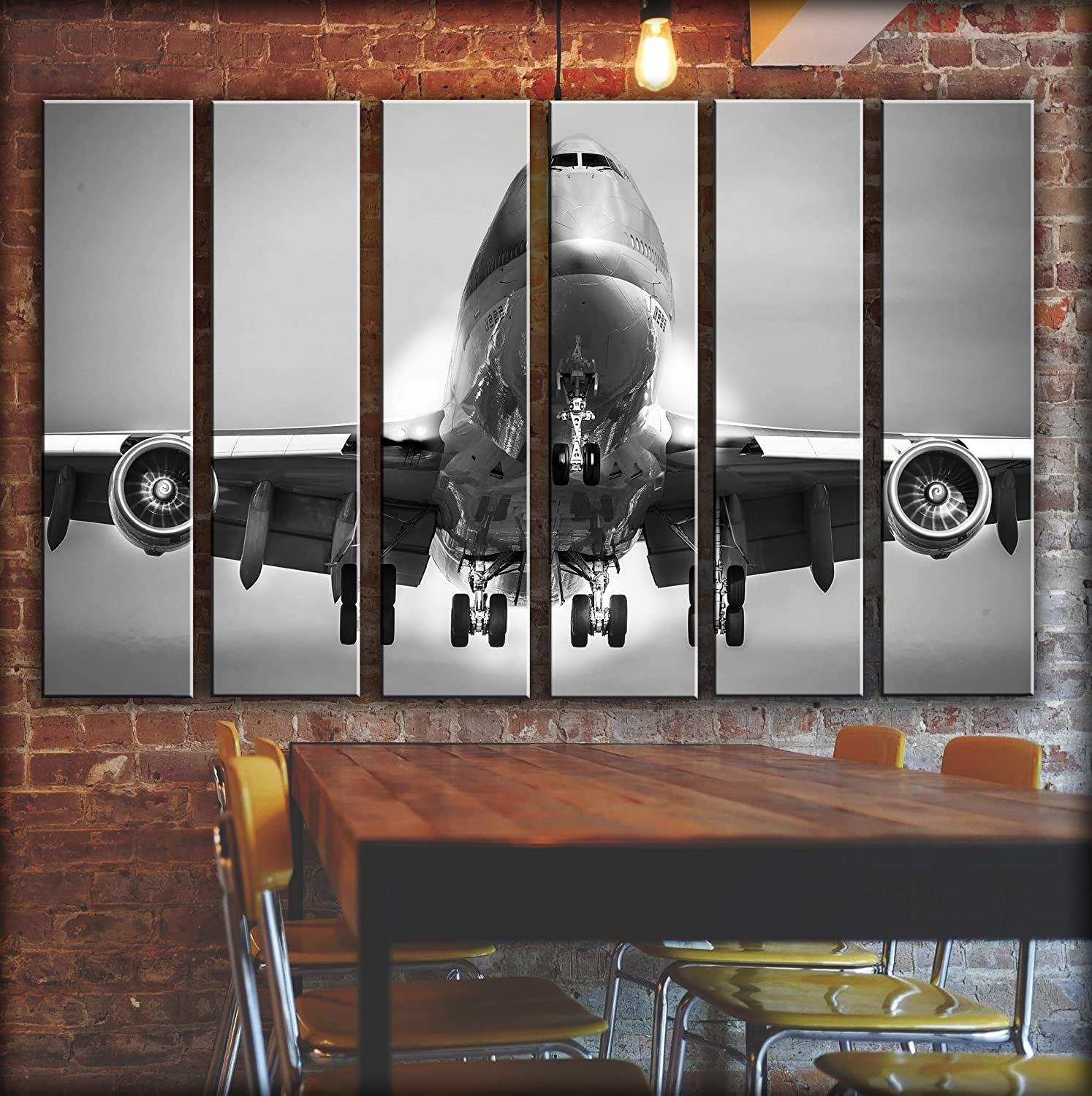 Big Set Jumbo Jet Boeing-747 Wall Art Decor Picture Painting Poster Print on 6 Canvas Panels Pieces – Aviation Aircraft Theme Wall Decoration Set – Wall Picture for Living Room Nursary 44 by 67 in