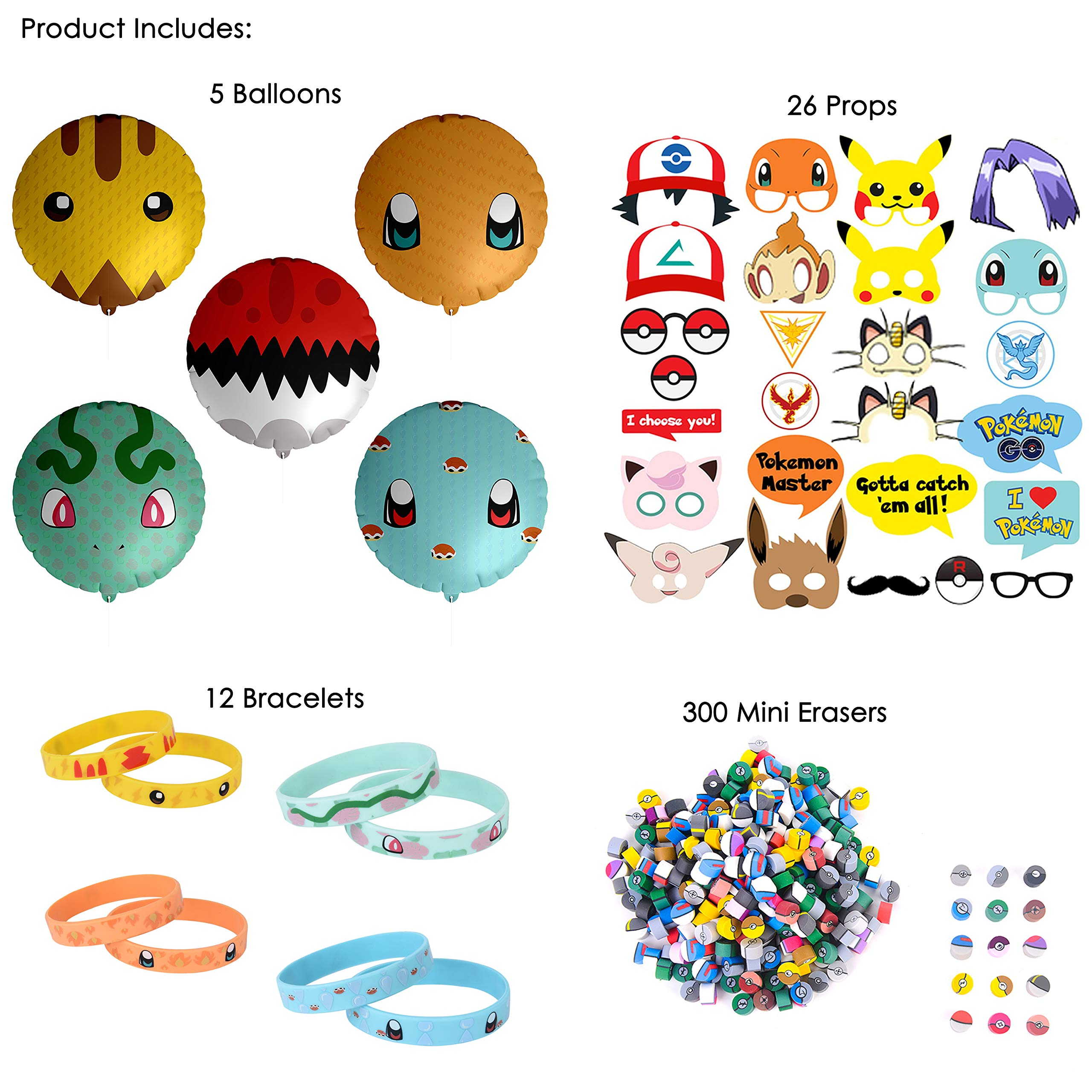 Totem World 343 pcs Party Favor Supply Mega Pack for Pokemon Theme Party - Includes Pokemon Inspired Balloons, Bracelets, Erasers, and Props - Perfect Stocking Stuffer by Totem World (Image #2)