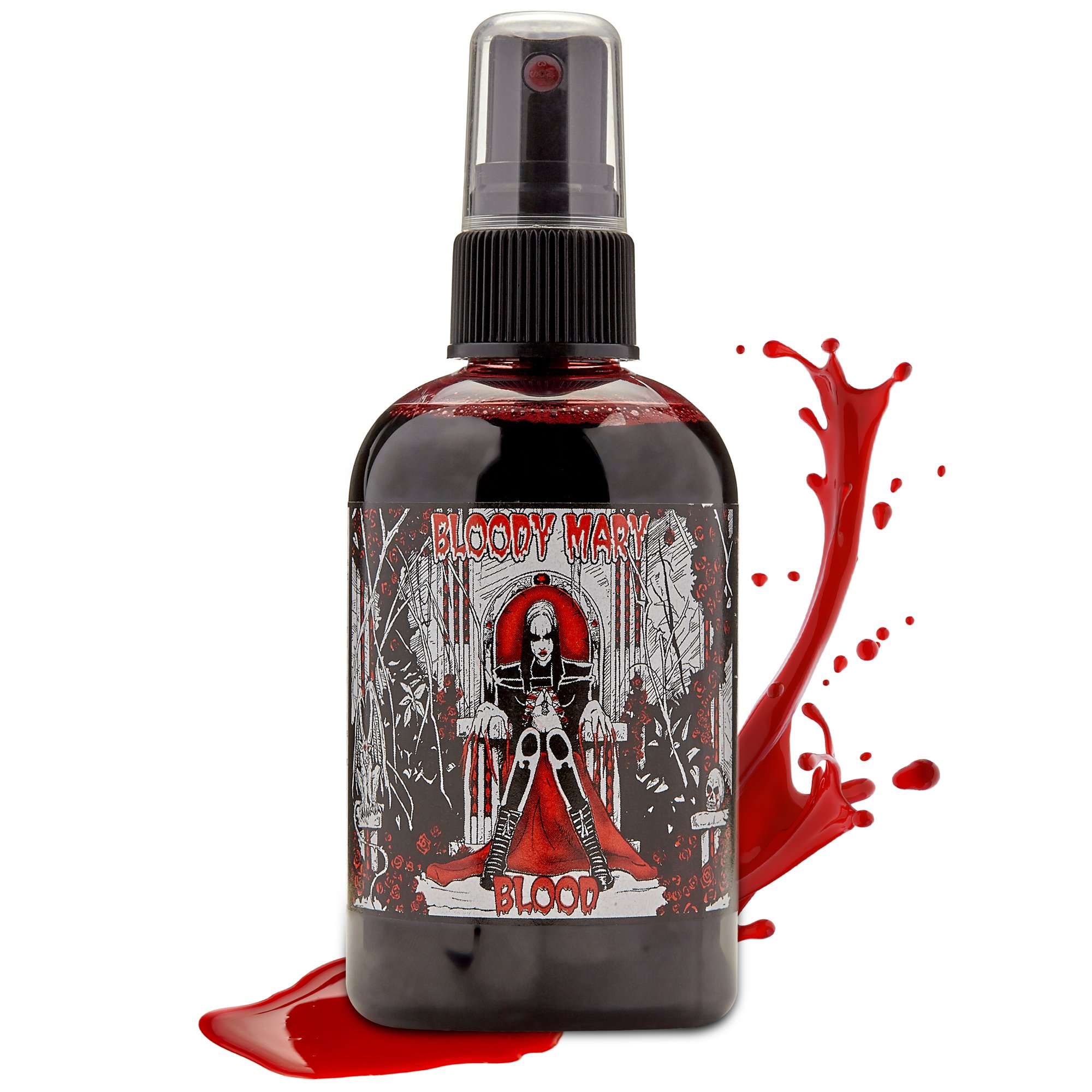 Fake Blood Makeup Spray - For Theater and Costume or Halloween Zombie, Vampire and Monster Dress Up - By Bloody Mary (Large - 4 oz)