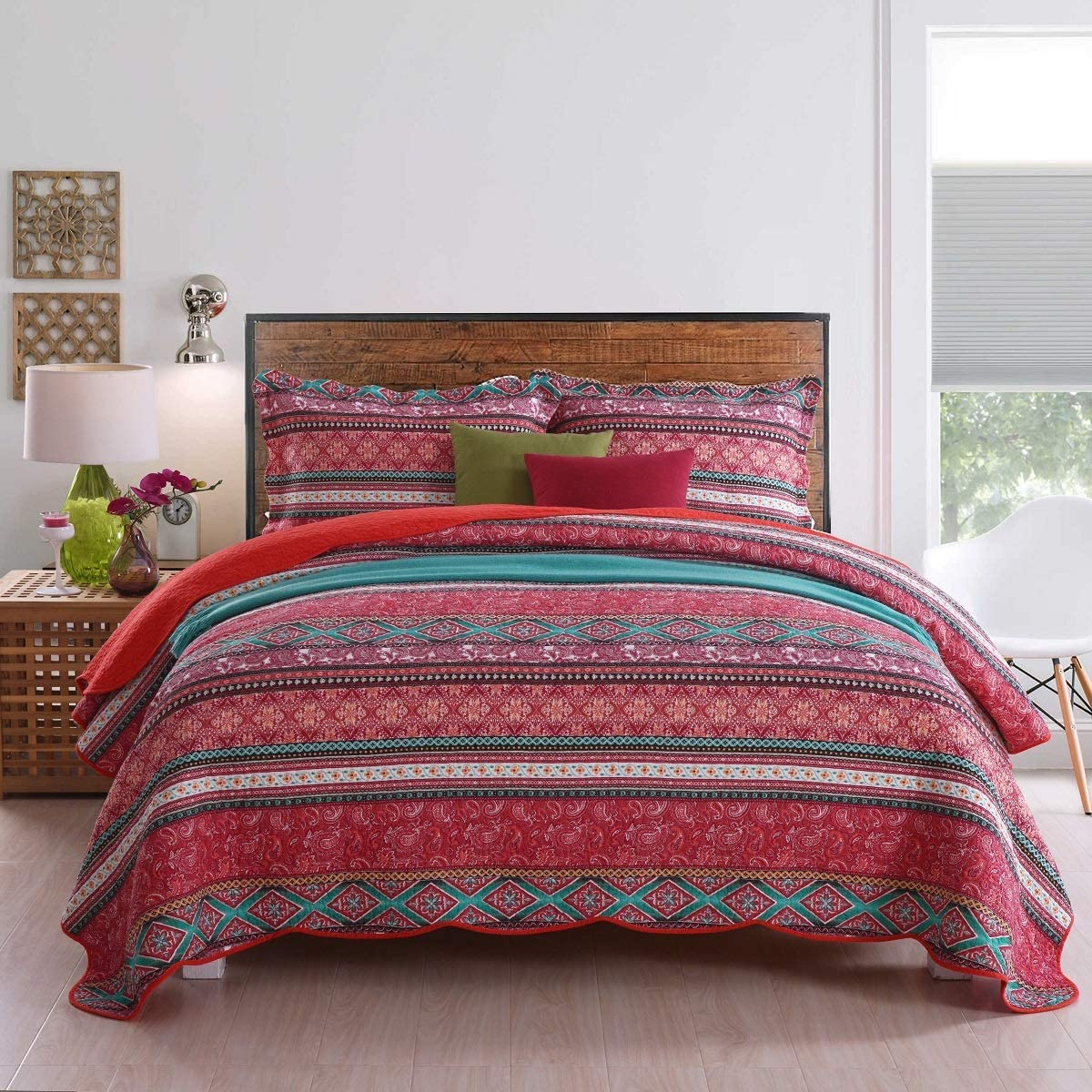 Qucover Red Striped Quilt Cover Sets King Size 3 Pieces, Cotton Quilted Bedspread Bedding Sets for King Bed