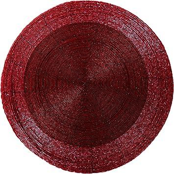 Platzset Untersetzer Perlen Rot  handgefertigt  4 verschiedene Größen FORMANO