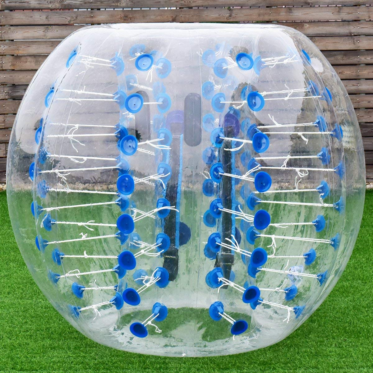 Costzon Bubble Soccer Ball, Dia 5 ft (1.5m) Human Hamster Ball, Thick 8mm PVC Transparent Inflatable Bumper Ball Zorb Ball for Teens and Adults (Sapphire Dot)