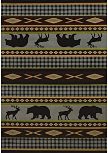 """Westfield Home Wildwood Animal Trail Hand-Carved Area Rug 5'3"""" x 7'6"""" 5' x 8' Indoor Rectangle"""