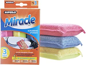 Ultra Micro Fiber Miracle Scrubbing Sponge 3 Pack Blue - Red -Yellow (1)