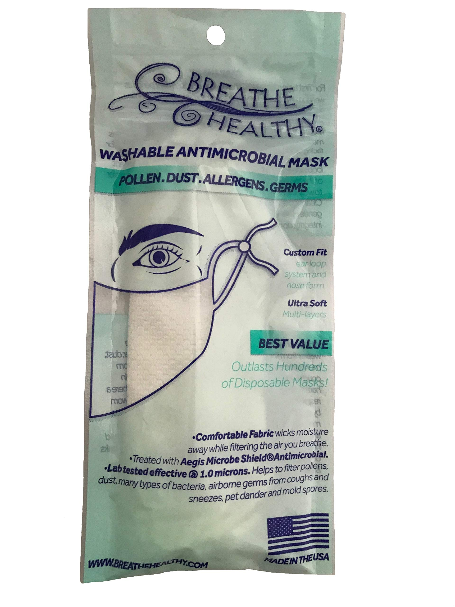 Breathe Healthy Dust, Allergy & Flu Mask - Comfortable, Washable Protection from Dust, Pollen, Allergens, Cold & Flu Germs with Antimicrobial; Asthma Mask; Pink Dogwwd Design (Adult)
