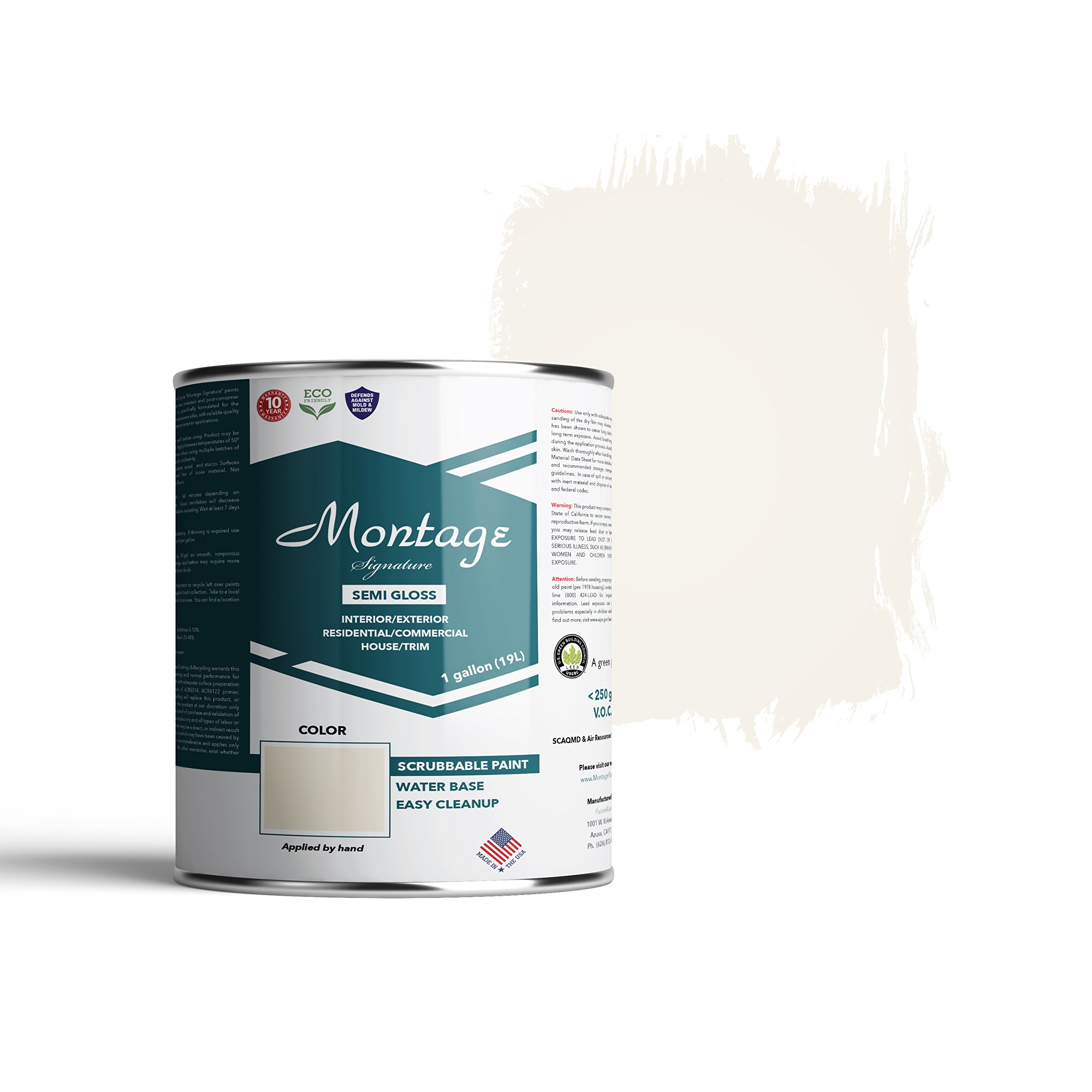 Montage Signature Interior/Exterior Eco-Friendly Paint, Snow White - Semi-Gloss, 1 Gallon