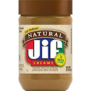 Jif Natural Creamy Peanut Butter, 16 Ounces (Pack of 12), 7g (7% DV) of Protein per Serving, Smooth, Creamy Texture, No Stir Natural Peanut Butter