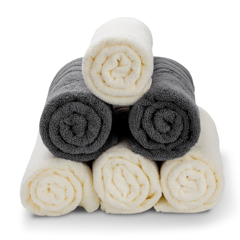 srotek algodón toalla de mano, juego de 6 toallas de Ultra suave de uso multiusos para baño, mano, cara, gimnasio, Spa y playa, 13 x 29 cm: Amazon.es: Hogar