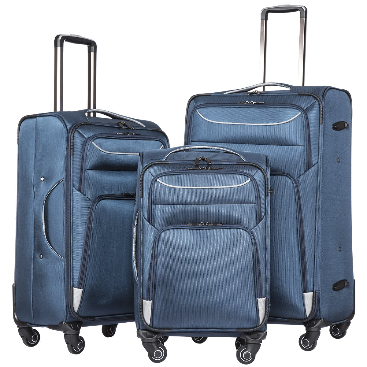 Coolife Luggage 3 Piece Set Suitcase Spinner Softshell lightweight (blue+sliver)