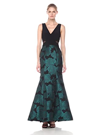 Xscape Womens Long Mermaid Brocade Skirt with Ity Top, Black/Emerald, ...