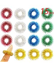 V-story 1 15 Pack Spiky Sensory Finger Acupressure Massage Rings Fidget Toys for Kids Teens Adults, 5 Bright Colors