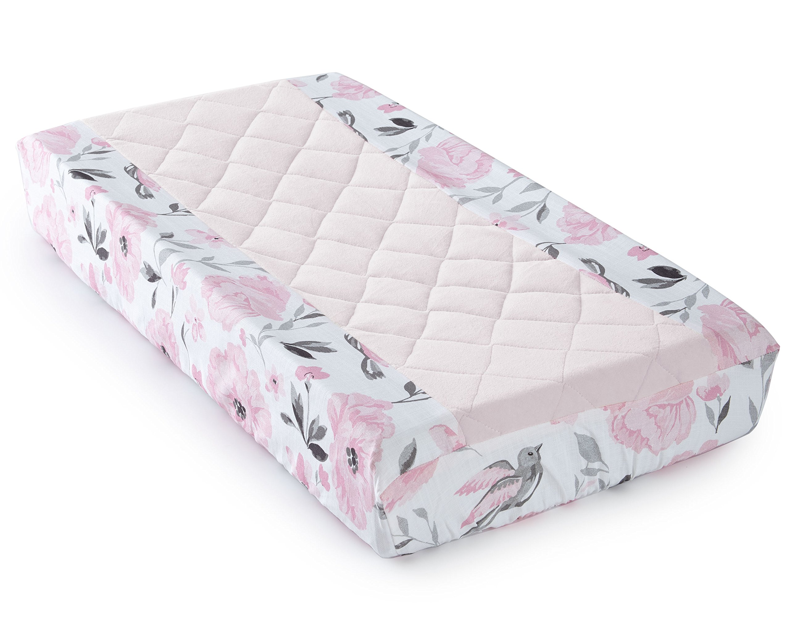 Amazon Com Levtex Baby Elise Grey And Pink Floral 5 Piece Crib Bedding Set Quilt 100 Cotton Crib Fitted Sheet 3 Tiered Dust Ruffle Diaper