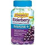 Emergen-C Immune+ Gummies (45 Count, Elderberry Flavor) Immune Support with 750mg Vitamin C, Plus Vitamin D and Zinc, Vegetarian, Caffeine Free, and Gluten Free Dietary Supplement