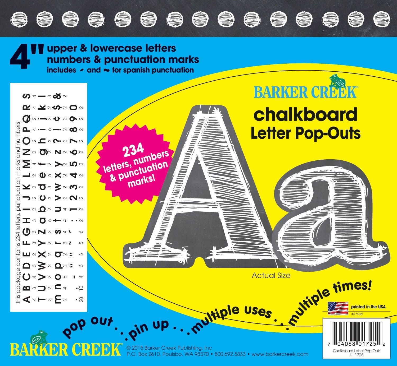 Barker Creek 4'' Poster Letters & Bulletin Board Letter Pop-Outs, Chalkboard (LL-1725) by BARKER CREEK