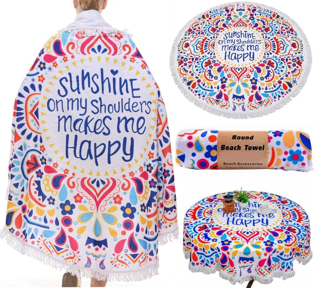 Polyester Tassels Sunshine , 59 Round Beach Roundie Blanket Picnic Blanket Baby Playing Mat Mandala Tapestry Tablecloth