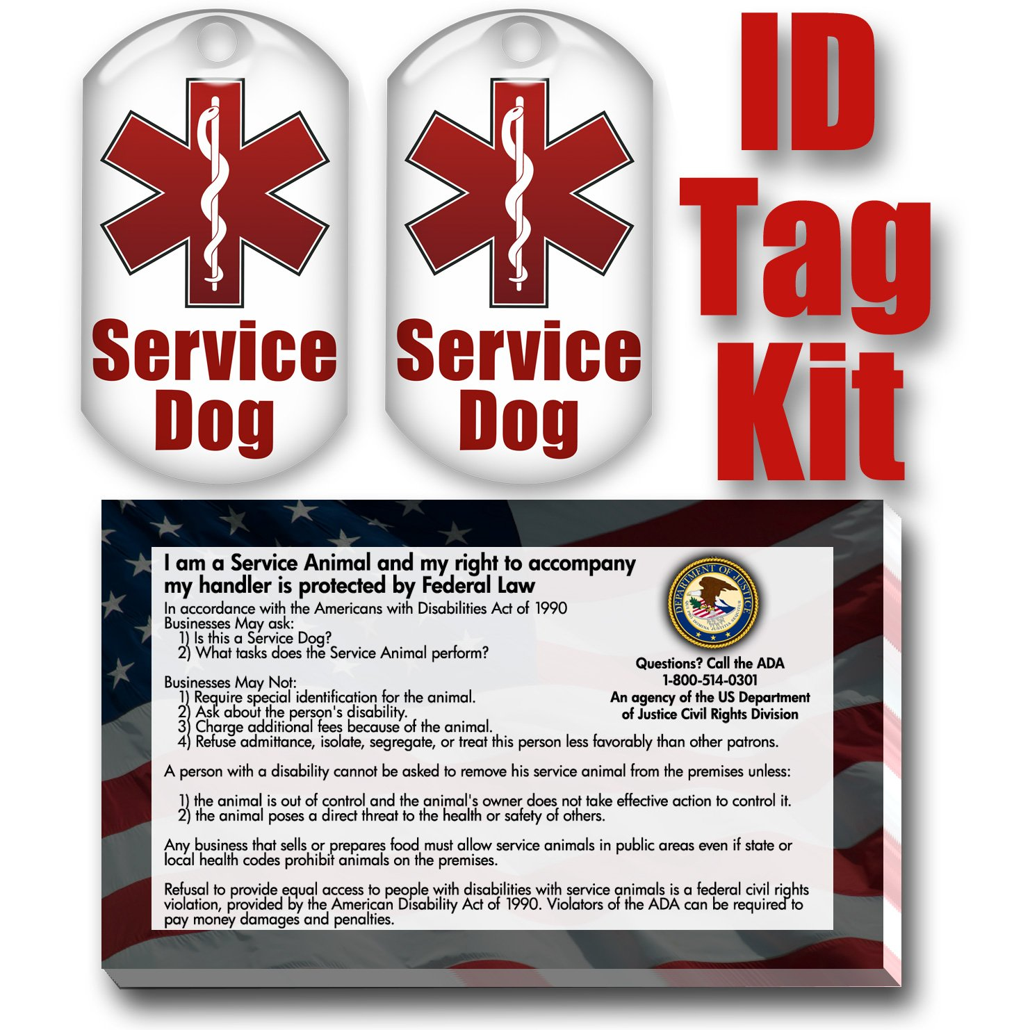 Amazon.com : Service Dog ID Tag Kit with 50 FREE ADA Information ...