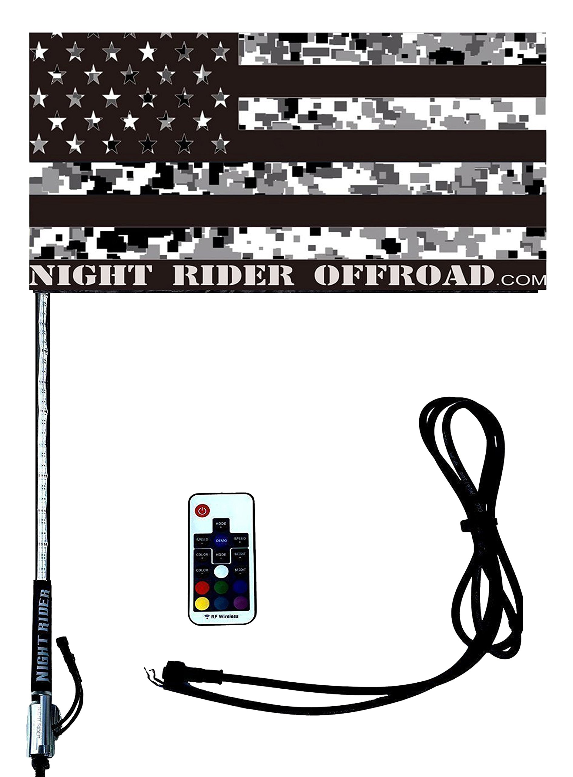 Amazon.com: Night Rider--4' RGB 200 LED Light Whip w/ Safety Flag with Wiring  Harness: Automotive