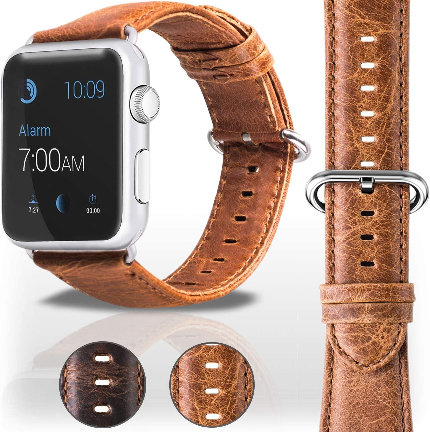 Veracelli compatible with Apple Watch Band 42mm 44mm - Mens Genuine Leather replacement for iWatch Bands - Series 4 Series 3 Series 2 Series 1 Apple Watch Strap - Light Brown