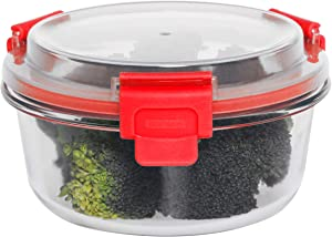 Home Basics 32 oz. Round Leak/Spill Proof Borosilicate Glass Food, Dishwasher Safe Meal Prep Storage Container with Air-Tight Plastic Lid, Red